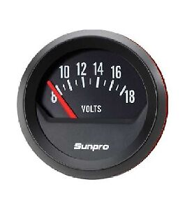 "Sunpro 2"" Voltmeter 12V Black / Black Bezel New CP8215 Authorized Distributor"