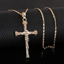 18K Chapado en Oro Hermoso Colgante Virgen María Cruz Jesús Dios católica