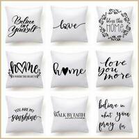"White Black Throw PILLOW COVER Home Decor Love Decorative Cushion Case 18x18"" US"