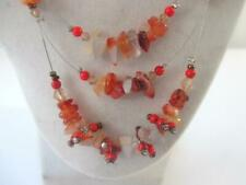 """Lane Bryant 17-20"""" Necklace 3 Graduated Strands Coral  & Natural Acrylic Chips"""