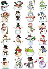 65 Mixed Snowman Christmas Small Sticky White Paper Stickers Labels New