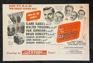 1940s Malaya Cathay flyer on movie Command Decision Clark Cables Walter Pidgeon