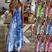 Summer Women Boho Beach Long Dress Floral Print Strap Casual Maxi Dress Sundress