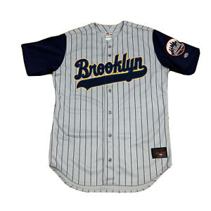 Vtg Rawlings Brooklyn Cyclones Mets Sewn Jersey Gray Blue Pinstripe Mens 46