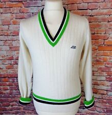Vintage ST MICHAEL M&S cricket jumper cream ribbed green black S M chest 40""