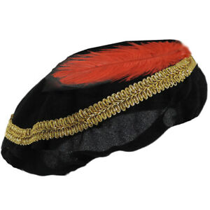 Adult Renaissance Tudor Costume Period Medieval Hat Black Red Feather Gold Braid