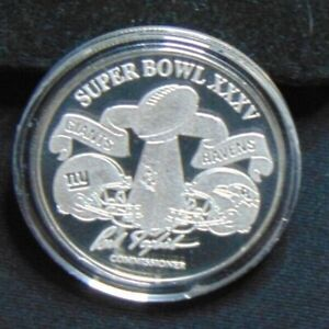 SUPER BOWL XXXV 35 BALFOUR COIN GIANTS VS. RAVENS TAMPA .999 SILVER ROUND 1/7500