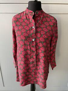 Max Mara Poppy Print Long Sleeved Top Blouse 100% Silk Size UK12