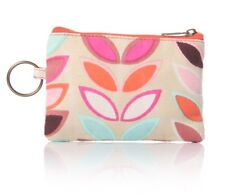 Leaf pattern, pink. coin purse. Key ring. Wallet. Gift. Organic design.