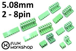 5.08mm Male Female Screw Terminal Pair Straight Right Set PCB CNC Flux Workshop
