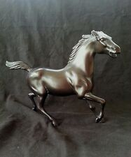 Vintage metal thoroughbred race horse bronze colored figurine