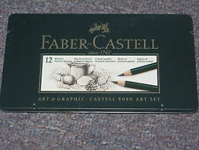 Faber-Castell Castell 9000 Smooth Graphite Pencil Assorted Tip Black 12 Pack