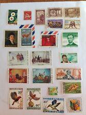 Lot of 23 Africa stamps~1930-1975~Tanzania fish~Haute-Volta~Washington~Malawi