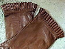 New Vintage Aris Kid Leather Pleated Ruffle Hem Dress Gloves Brown 6.5 Charming!