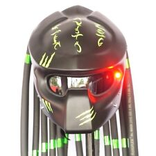 CASCO ELMETTO MATT BLACK GREEN PREDATOR MOTORCYCLE HELMET CUSTOM LAMP M,L NEW