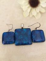 Blue Fused Dichroic Glass Jewelry Matching Earrings Pendant Set Handmade