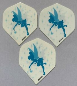Set of 3 Std Standard Darts Flights Fun 'Tinkerbell' Blue/White