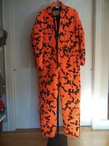 VTG. WALLS BLIZZARD-PRUF ORANGE CAMO INSULATED COVERALLS MADE IN THE USA SIZE L.