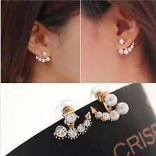 Rose Gold Fashion Cute Pearl Rhinestone Crystal Asymmetric Ear Stud Earrings