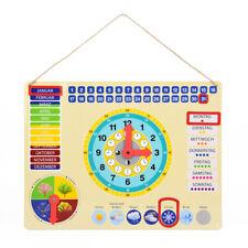 Lernuhr aus Metall, farbenfrohe Lerntafel mit Datum, Uhrzeit und Jahreszeiten