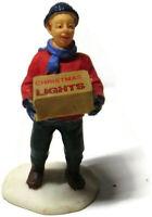 Lemax Christmas Village Figure Teen Boy with Box of Christmas Lights