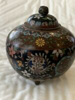 "Antique Japanese Cloisonne  Lidded Jar. 3 feet. 4""t, 3.75"" diameter. Goldstone."