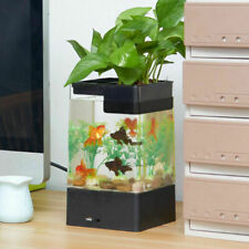 NEW LED Fish Tank Small Aquarium Desktop Kids Goldfish Bowl with Plants
