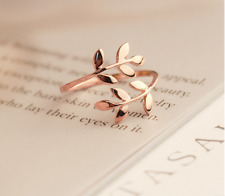 Little Queen rose gold plated leaf sizable women fashion ring