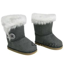 """Gray Button Shearling Ewe Uggly Fur Boots for 18"""" American Girl Doll Clothes"""