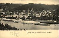 Bad Schandau Sachsen Grußkarte um 1900 Blick über die Elbe Schiffe Teilansicht