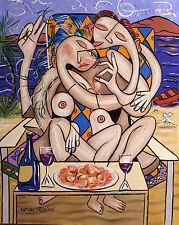 LOVE ON A DESERTED ISLAND SHRIMP SCALLOPS LINGUINE PAINTING NUDE ANTHONY FALBO