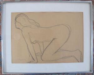 Fine Art Original Medium Nude Drawing, Joseph Konzal, signed