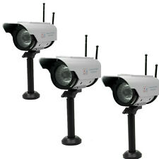3x Solar Power Fake CCTV Camera Dummy Security For Outdoor & Home Red LED Light