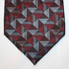 "NEW 63"" Joseph & Feiss Silk Neck Tie Burgundy Gray Charcoal & Black Pattern 1305"