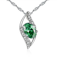 925 Sterling Silver 0.78 Ct Created Oval Cut Emerald GEMSTONE Necklace Pendant