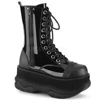 Demonia NEPTUNE-200 Men's Black Punk Goth Platform Lace-Up Ankle Mid-Calf Boot