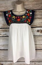 Vintage Mexican Embroidered Oaxaca Puebla Peasant Blouse Women's Size 6