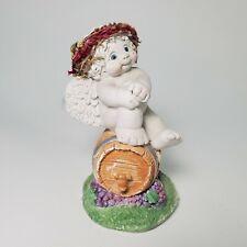 "Vintage Dreamsicles ""vintage 2000"" Angel Sitting on Wine Barrel 11089 Signed"
