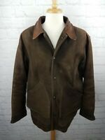 Vtg SCHOTT NYC Men's Brown Leather Plaid Inside Jacket Size 46 - Made in USA 90s