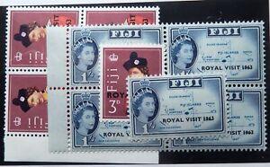 Fiji Scott #195-96 Blocks, 215-18, 357-60, 371-73 Gutter Pairs, Mint OG