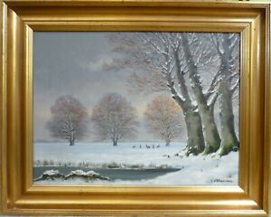 V. LEISNER! LANDSCAPE FROM DYREHAVEN IN CPH. WITH DEERS IN THE SNOW