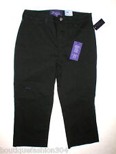 NWT NYDJ Womens Capri Crop 6P 6 P Not Your Daughters Jeans USA Dark Black Pants