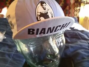 NOS Bianchi Fausto Coppi retro cycling cap bicycle hat MADE IN ITALY !!!