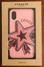 Coach iPhone X or XS Case with Oversized Star Glitter Silicone Cover NIB pink