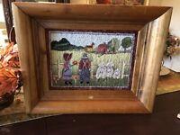 Hand Hooked Framed Folk Art Farm Vintage