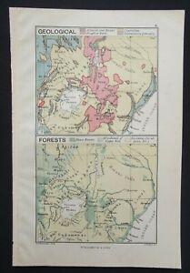 Antique Map: Uganda Geological & Forests by George Philip, Africa, 1893, Colour