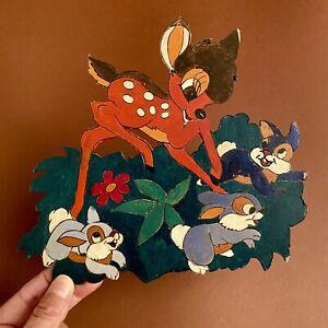 Laubsägearbeit ALT Graupner Graubele Bambi u. Klopfer Hasen Märchen-Holzbild Reh