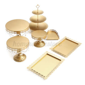 7Pcs/Set Crystal Metal Cake Holder Cupcake Tower Stand Wedding Display Plates