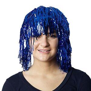 Metallic Tinsel Foil Short Wig Mardi Gras Masquerade Shiny Costume Accessory