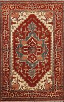 Geometric Traditional Indo Heriz Oriental Hand-knotted Area Rug Wool Carpet 4x6